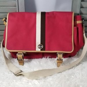 SOLD>>Coach F70201 Voyager Red Canvas Messenger